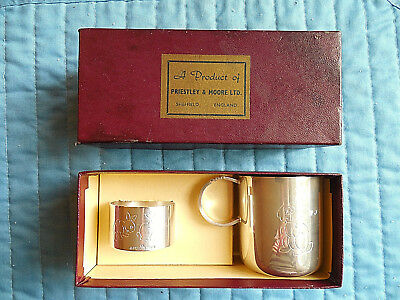 Baby Cup Napkin Ring Bunny Rabbit w Box Priestly Moore Silver Sheffield England
