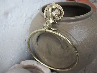 Antique or Vintage in Brass Beautiful Fish Shape Ring Toilet Towel Rack