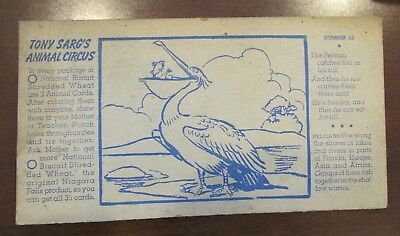 1930s Tony Sarg Animal Circus Pelican Nabisco Premium Card #33