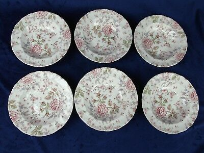 Lot 6 Johnson Brothers Rose Chintz Made In England Wide Rimmed Soup Bowls