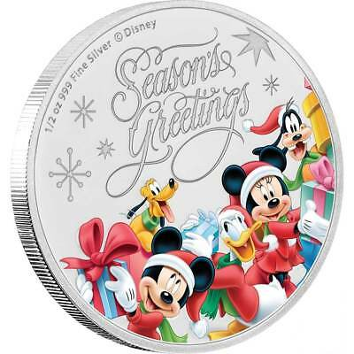 SEASON'S GREETINGS - MICKEY MOUSE & FRIENDS - DISNEY - 2018 1/2 oz Silver Coin