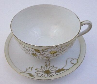 Nippon Hand Painted - Tea Cup & Saucer - Gold Floral Trim (15C)