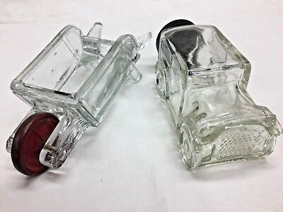 Vintage Lot 2 Glass Candy Containers Car And Wheelbarrow