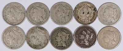 Lot of 10 1865-1881 3-Cent Piece Copper Nickel 3C