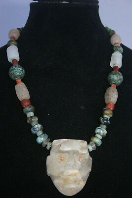 Pre-Columbian Stone Bead Necklace with Quartz Crystal Maskett, Authentic 100%