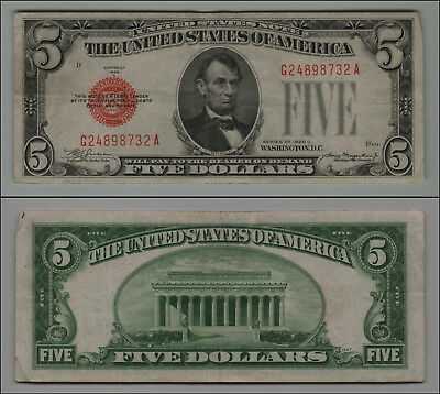 1928 C $5 Dollar Bill Us Note  Lt=B 527