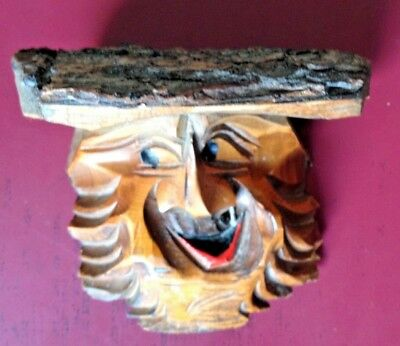 """Vintage Black Forest Carving - Old Man's Face - Rustic - 4.5"""" x 5.5"""" x 3"""""""