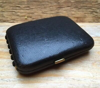 Lovely Vintage Black Leather Key Wallet/Pouch Of Key Rings/Buxton/English/Retro