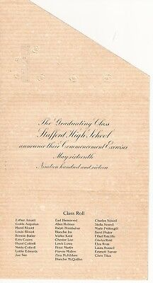 1916 Stafford High School Commencement Announcement Over 100 years old!!