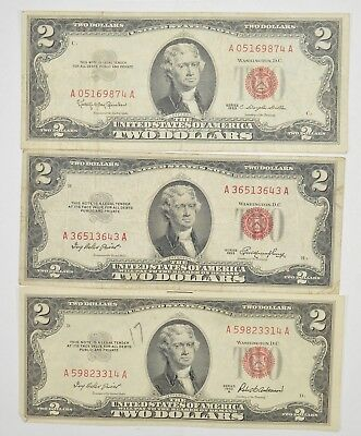 Lot (3) Red Seal $2.00 US 1953 or 1963 Notes - Currency Collection *283