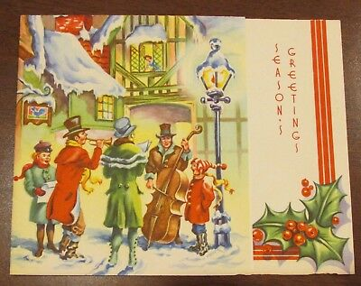 1950s Embossed Dickens Musicians Christmas CArd 590/31