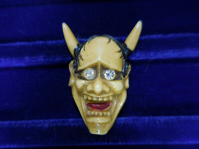 Vintage Oni Chinese Devil Button Hand Painted Rhinestone Eyes Plastic Celluloid