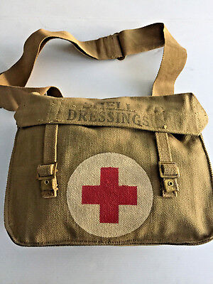 Unissued British Wwii Ww2 Canvas Medics Bag Dated 1943 (Mint Condition)