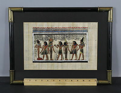 Vintage mid-20th Papyrus Leaf Signed Painting Egyptian Figures No Reserve