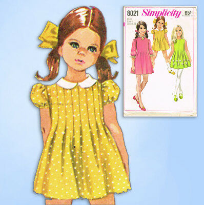 1960s Vintage Simplicity Sewing Pattern 8021 Toddler Girls Tucked Dress Size 4