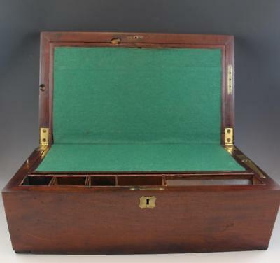Antique C1900 English Mahogany Gentleman's Writing Lap Desk Secret Drawer