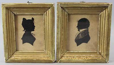2 Small Antique 19thC Folk Art Cut-Paper Husband & Wife Portrait Silhouettes, NR