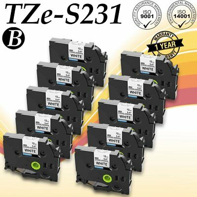 10PK TZeS231 TZS231 Black on White Label Tape For Brother P-Touch PT-2110 12mm