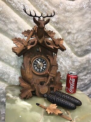 AMAZING LARGE  7 Day GERMANEY  BLACK FOREST CUCKOO CLOCK W PENDULUM&WEIGHS WORKS