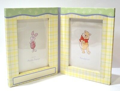 """Disney Baby Double Picture Frame Winnie the Pooh for 5x7"""" picture and handprint"""