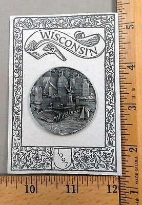 BATTERSEA Pewter 1997 NBS Wisconsin CONVENTION BUTTON, Madison in High Relief