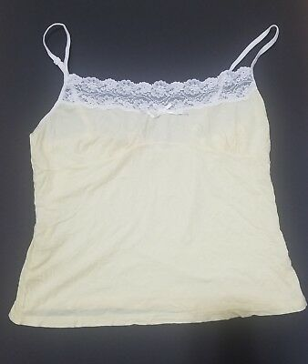 Victoria's Secret Yellow & White Lace Top Sleepwear Cropped Cami Sz Large L