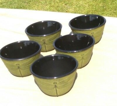 5 Iwachu Japanese Spring Grass Green Dragonfly Cast Iron Heavy Metal Teacups