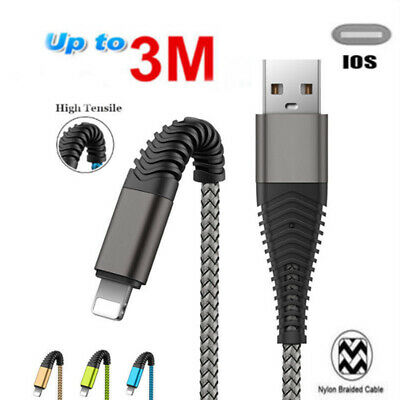 1M 2M 3M Strong Braided USB Data Sync Charger Cable Lead For iPhone X 8 7 Lot