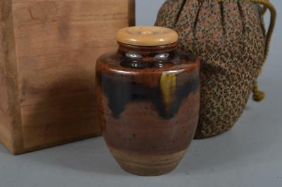 M7019: Japanese Old Kiyomizu-ware Brown glaze TEA CADDY Chaire Container w/box