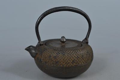 M7823: Japanese Iron Arare pattern SMALL TEA KETTLETeapot Tetsubin, Hojudo made