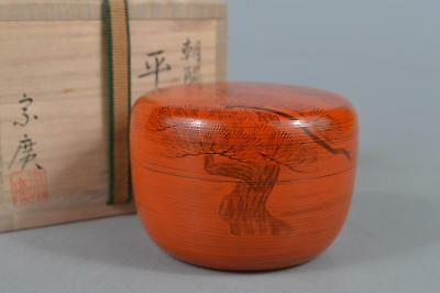M7878: Japanese XF Wooden Lacquer ware TEA CADDY Natsume, Munehiro made w/box