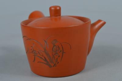M7978:Japanese Tokoname-ware Brown pottery Flower sculpture TEAPOT Kyusu Sencha
