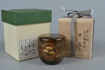 M7995: Japanese Wooden Lacquer ware TEA CADDY Natsume Chaire Container