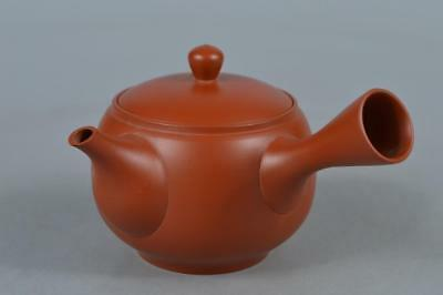M8144:Japanese Tokoname-ware Brown pottery Poetry sculpture TEAPOT Kyusu Sencha