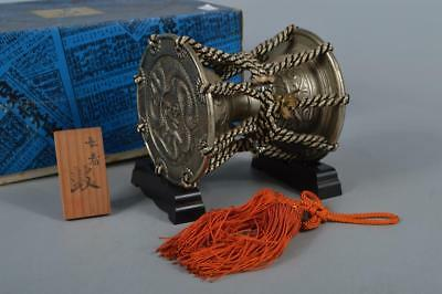 M8297:Japan Iron Snake Poetry sculpture Drum-shaped ORNAMENTS Display Okimono