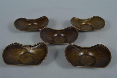 M8416: Japanese Old Copper Wave sculpture TEA CUP TRAY Saucer Chataku 5pcs