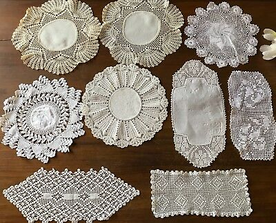9 Antique White Linen Crochet Lace Doiley Vintage Hand Embroidered Tiger Lily