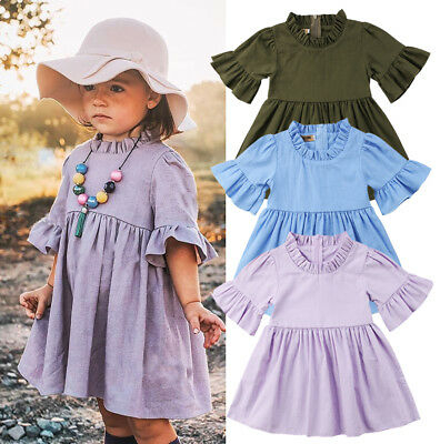 USA Boutique Toddler Baby Kids Girl Ruffle Sleeve Party Dress Sundress Clothes