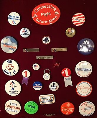 Vintage American Airlines Pin / Buttons Lot Of 28