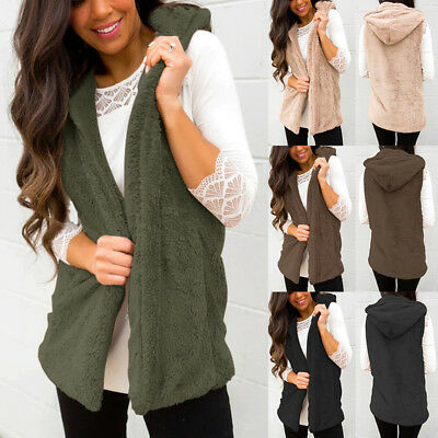 Women's Vest Outwear Hooded Knit Cardigan Sleeveless Sweater Jacket Coat USA