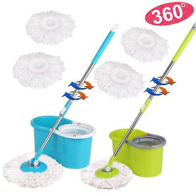 360°Rotating Microfiber Spinning Magic Spin Easy Floor Mop with Bucket 2 Heads