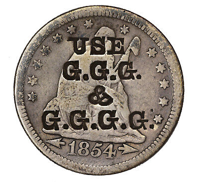 """1854 Seated Liberty Quarter, Counterstamped """"USE / G.G.G. / & / G.G.G.G."""""""