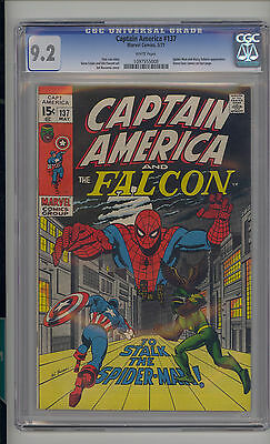 Captain America #137 CGC 9.2 NM- Unrestored Marvel Spider-Man Falcon WHITE Pages