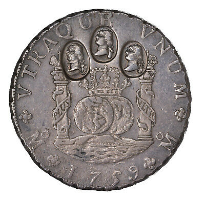 "1759-Mo-MM Eight Reales, Counterstamped ""(Three Busts)"""
