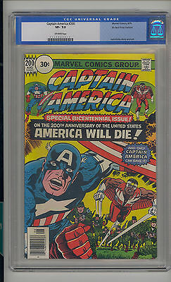 Captain America #200 CGC 7.5 VF- Unrestored Marvel 30 Cent Variant OW Pages