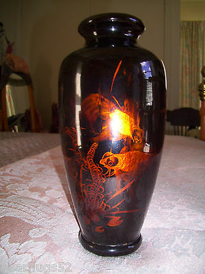 Antique Japanese Lacquer Koi Gold Fish Vase 1925 - 1940