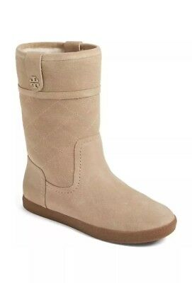 41487876edcd7 Tory Burch  Alana  Genuine Shearling Boot Natural Light Camel Suede Booties  10