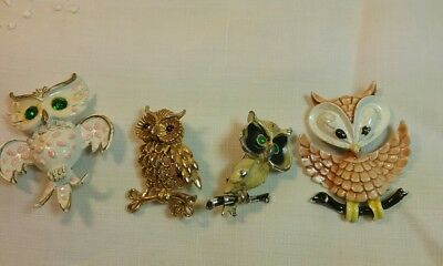 Vintage Lot of 4 Owl Brooch Metal Enamel Mamselle and Other