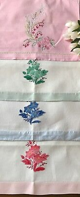 4 Vintage Linen Guest Towels Pink Green Blue Embroidered Shabby Chic