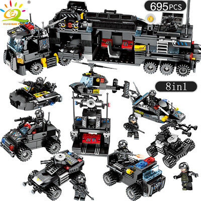 8in1 SWAT Team Truck Vehicle Model Building Blocks with Police Figures 695pcs